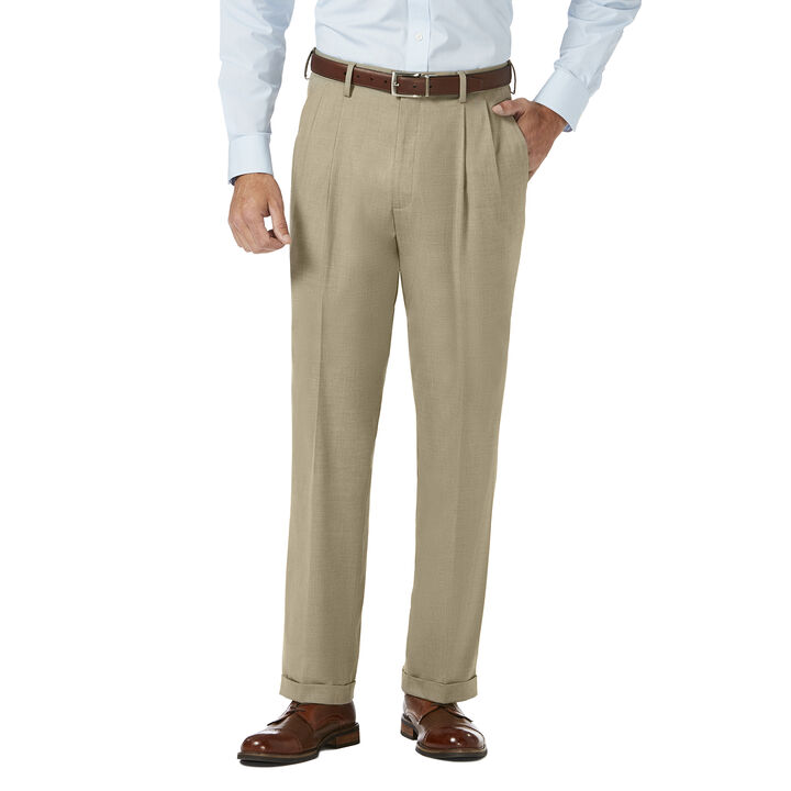J.M. Haggar Dress Pant - Sharkskin, Oatmeal open image in new window
