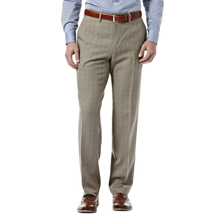E-CLO™ Stretch Heathered Plaid Slack, Medium Taupe