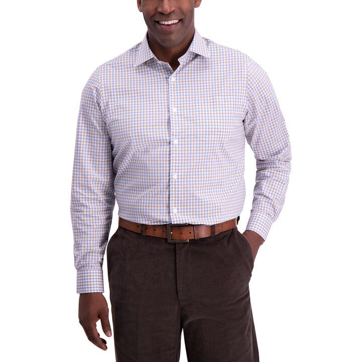 Thin Plaid Dress Shirt, Medium Beige