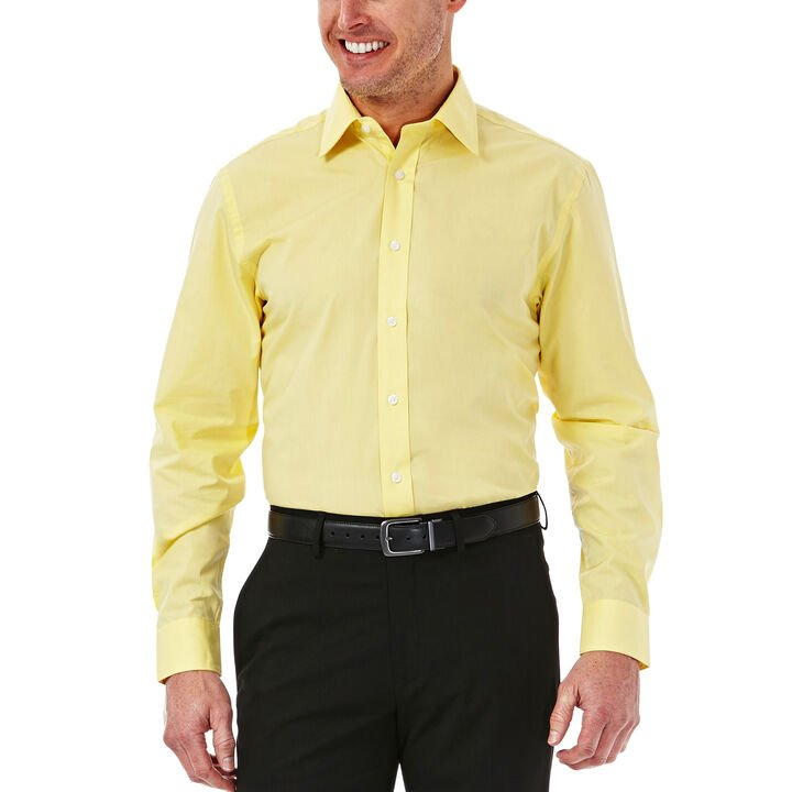 Solid Poplin Dress Shirt, Light Yellow