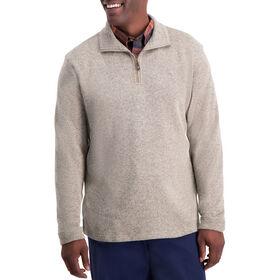 1/4 Zip Knit Fleece Sweater , Khaki