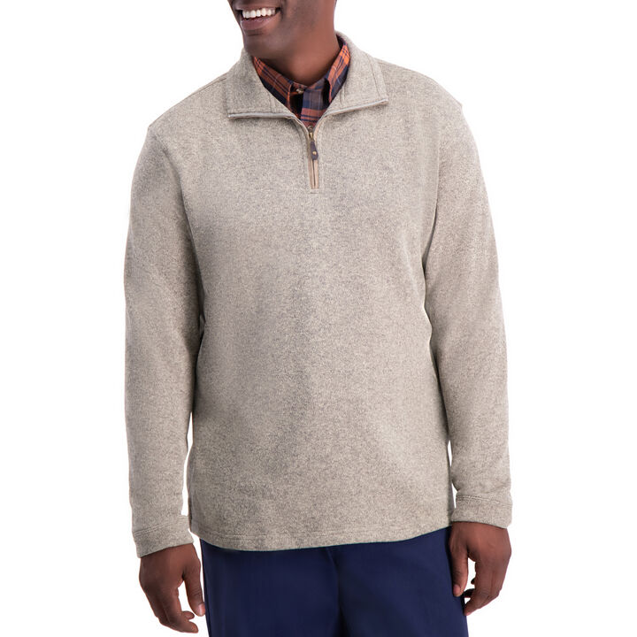 1/4 Zip Knit Fleece Sweater , Khaki open image in new window