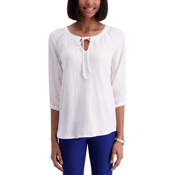 Raglan 3/4 Sleeve Blouse,  White