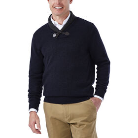 Contrast Shawl Collar with Toggle Sweater, Heather Navy