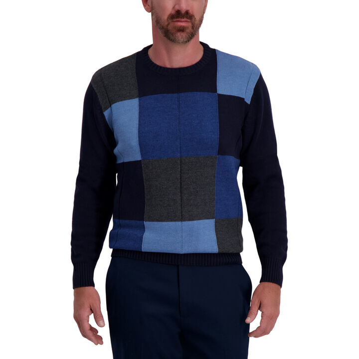 Color Block Crewneck Sweater, Navy