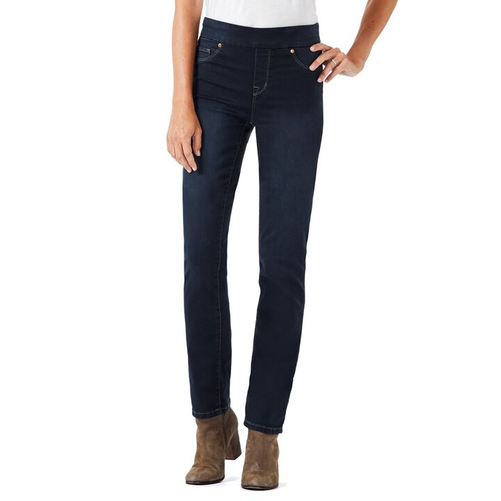 Pull On Straight Denim Pant, Navy Blue