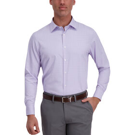 J.M. Haggar Tech Performance Dress Shirt - Windowpane, Purple