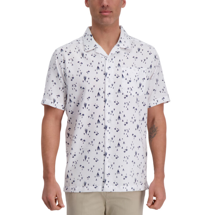 Sailboat Print Microfiber Shirt, White