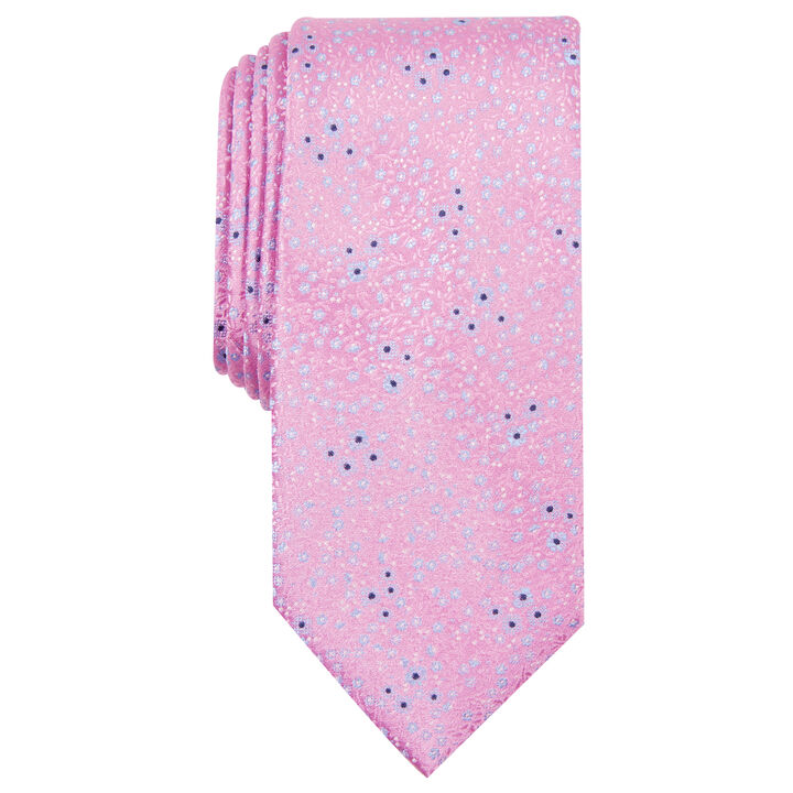 Pink Floral Ditsy Tie, Navy