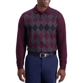 Allover Argyle Long Sleeve Knit Polo, Dark Red