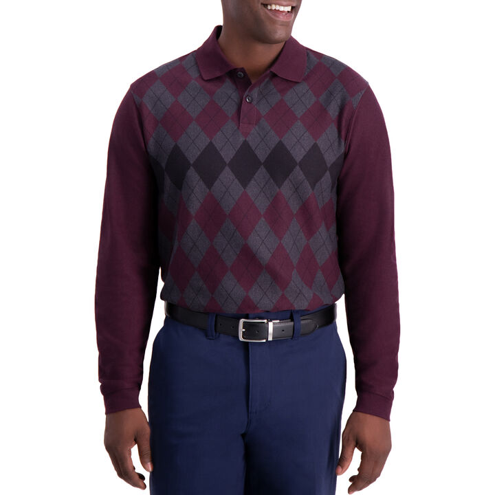 Allover Argyle Long Sleeve Knit Polo,