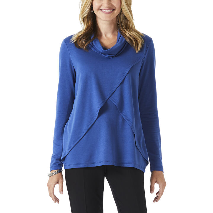 Long Sleeve Cowl Neck Top, True Navy
