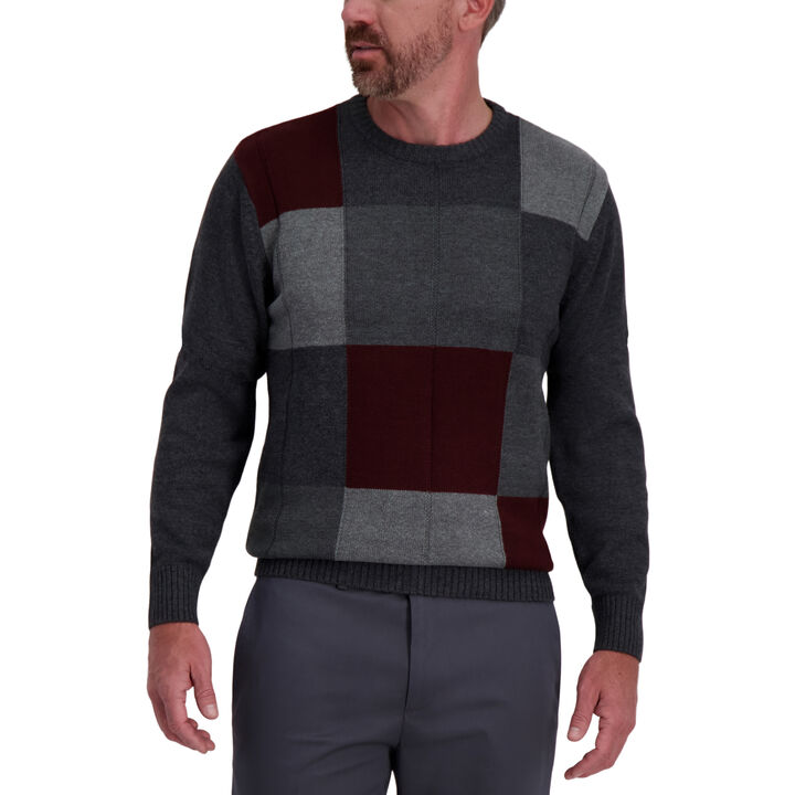Color Block Crewneck Sweater, Dark Grey