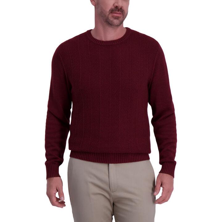 Solid Texture Crewneck Sweater, Sangria