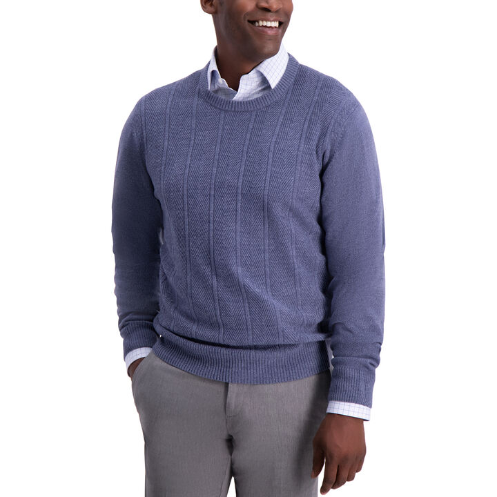 Herringbone Sweater, Blue Marl