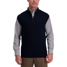 Contrast Quarter Zip Vest, Navy