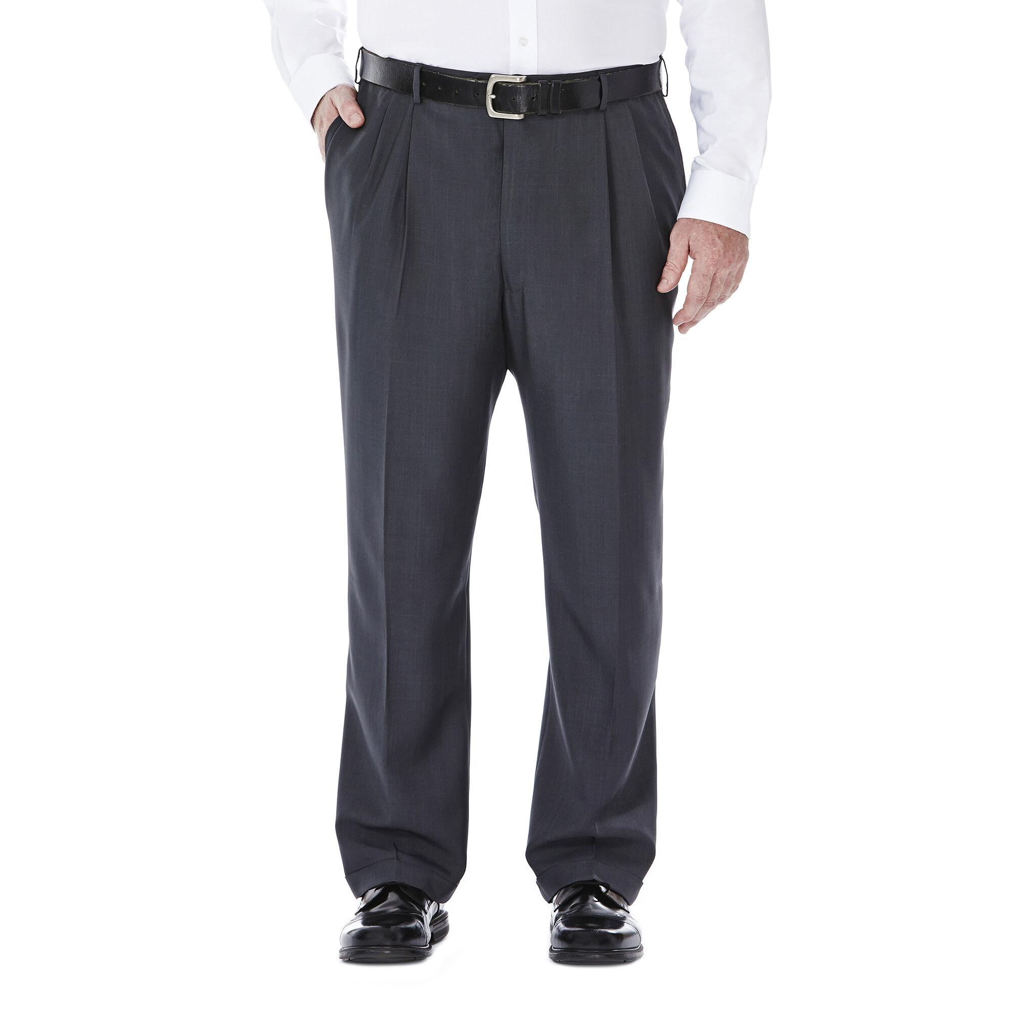 Haggar Mens eCLo Stria Expandable-Waist Pleat-Front Dress Pant