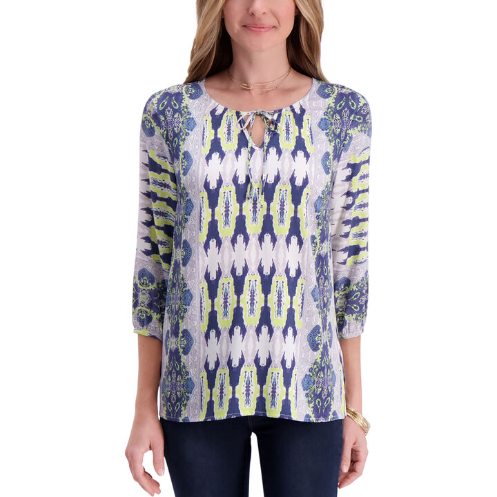 3/4 Sleeve Printed Blouse,  Canary