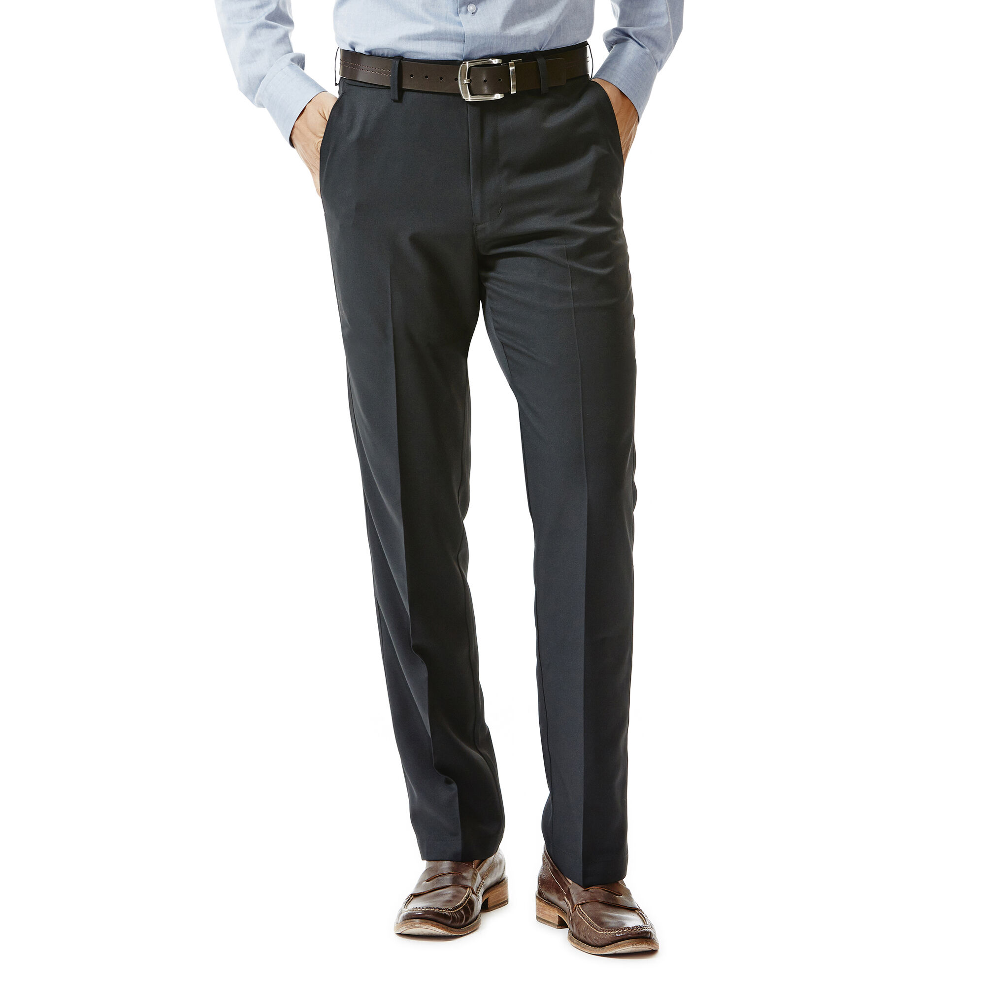Haggar Mens Performance Cotton Slack Straight Fit Plain Front Pant