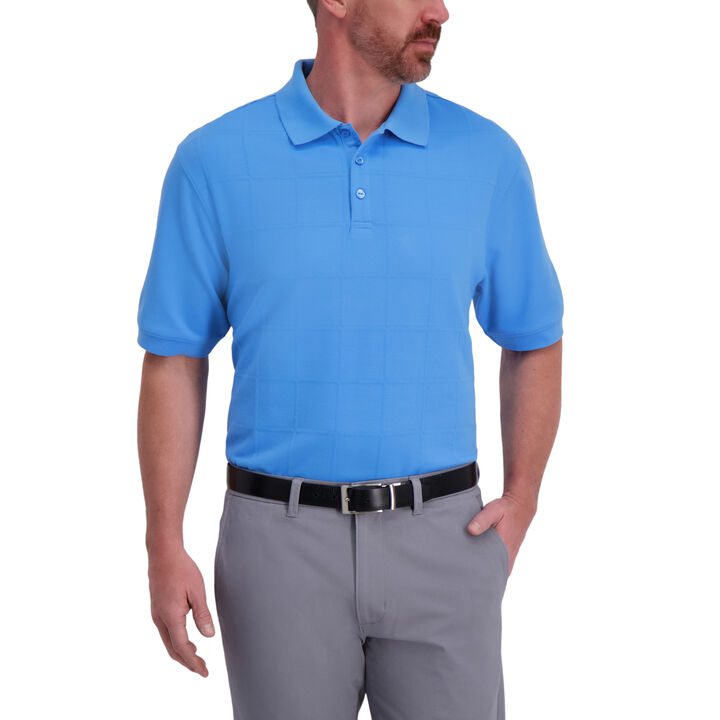Large Box Print Polo, Ice Chambray
