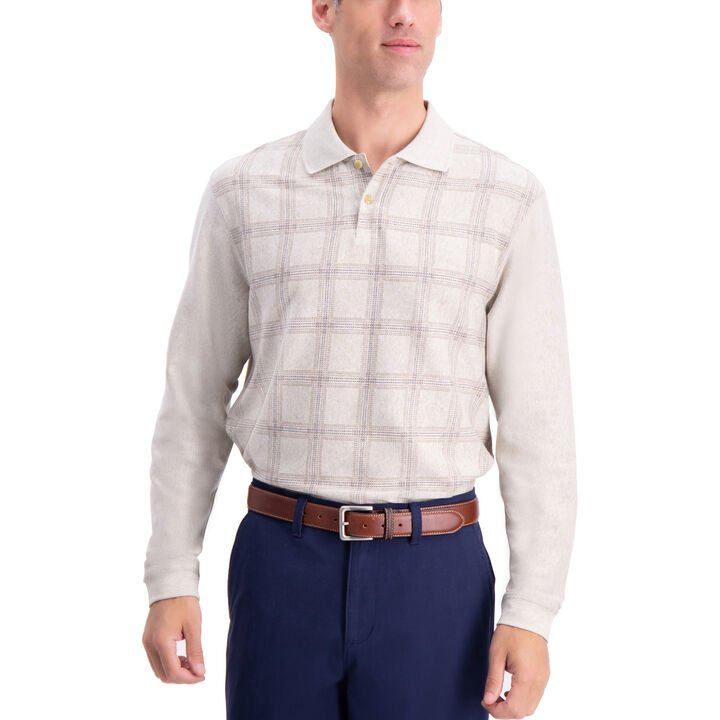 Windowpane Long Sleeve Knit Polo Shirt,  Oatmeal Htr