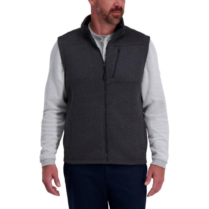 Bonded Fleece Sweater Vest,  Charcoal
