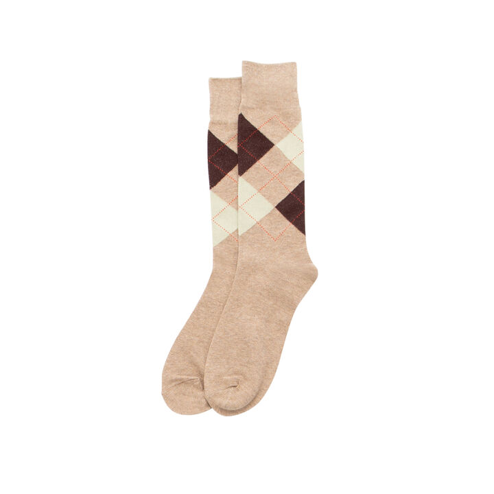 Argyle w/ Overplaid Sock, Brown Heather