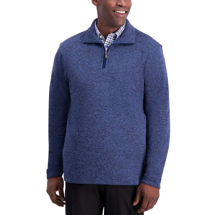 1/4 Zip Knit Fleece Sweater , Peacoat