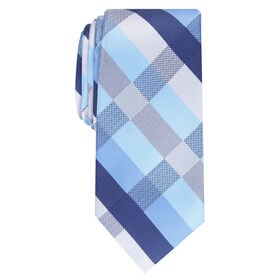 Clarence Plaid Tie, Navy