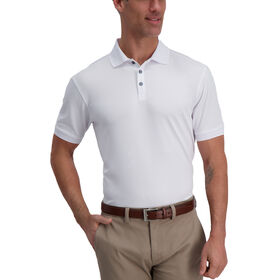 Cool 18® Pro Waffle Textured Golf Polo, White