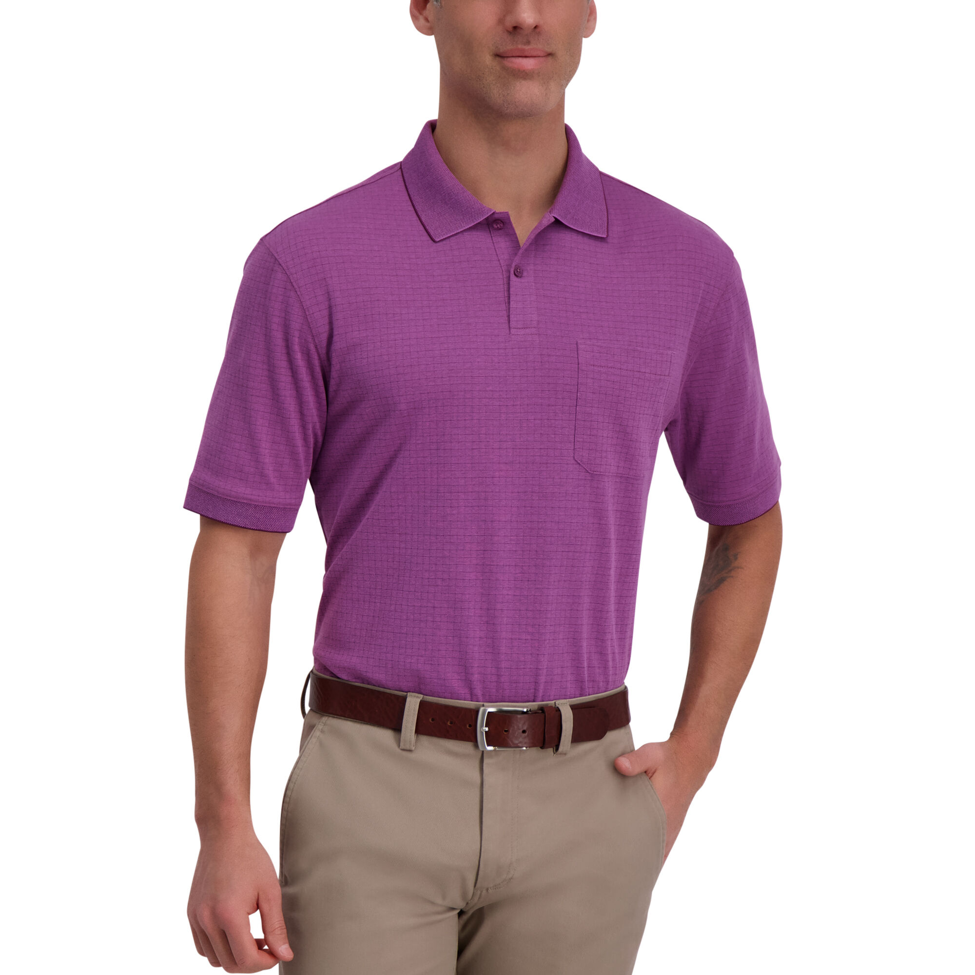 Haggar Mini Box Print Men's Polo (Plumberry)