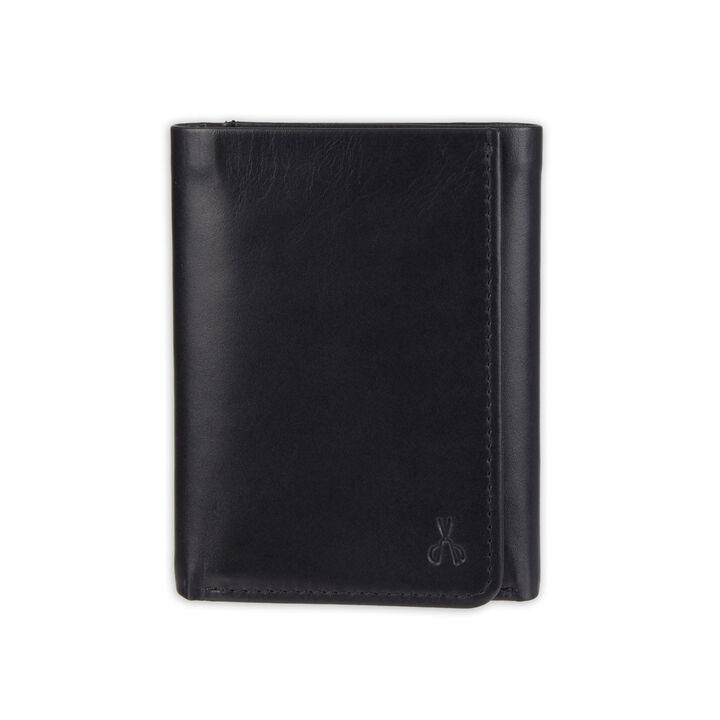 RFID Extra Capacity Trifold Wallet - Best Dad Ever Emboss, Black open image in new window