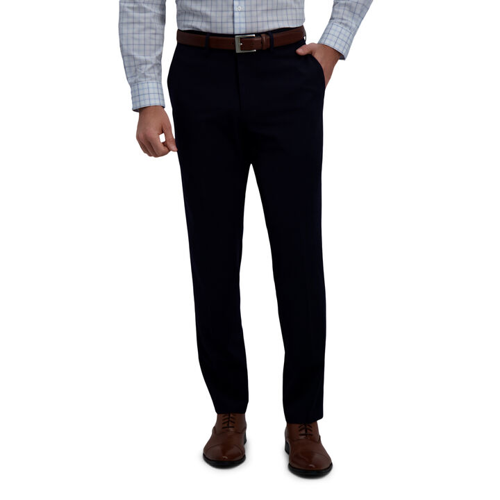 J.M. Haggar 4-Way Stretch Dress Pant - Check Glen Plaid, Dark Navy open image in new window