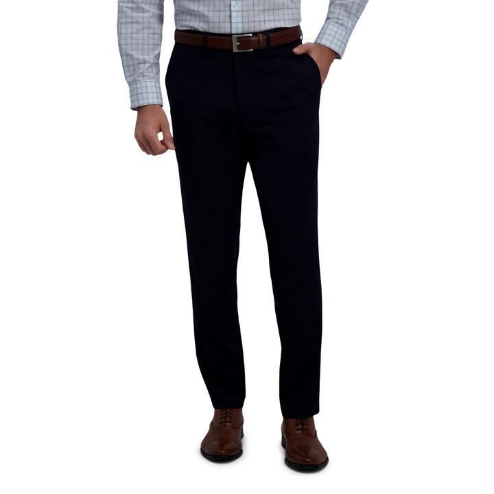 J.M. Haggar 4-Way Stretch Dress Pant - Check Glen Plaid, Dark Navy