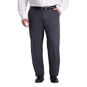 Big & Tall Travel Performance Stria Tic Weave Suit Pant, Dark Heather Grey