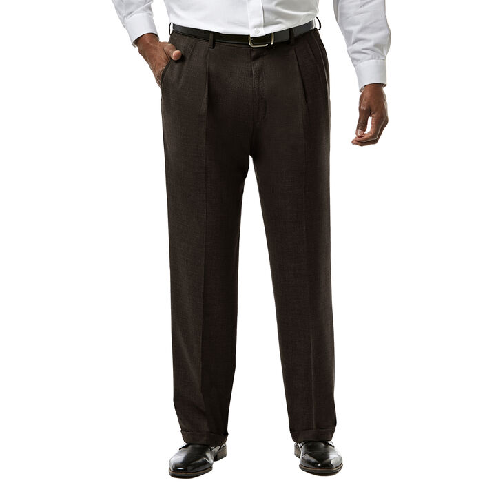 Big & Tall J.M. Haggar Premium Stretch Suit Pant - Pleated Front, Chocolate