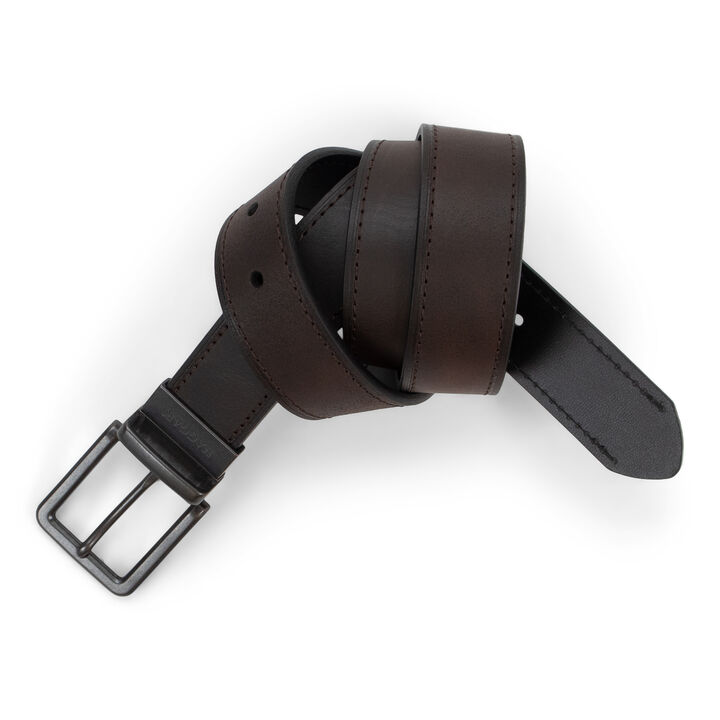 Casual Leather Reversible Belt, Brown/Black