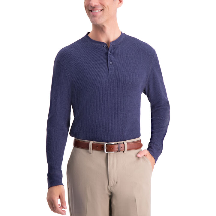 Thermal Henley Shirt, Navy Htr