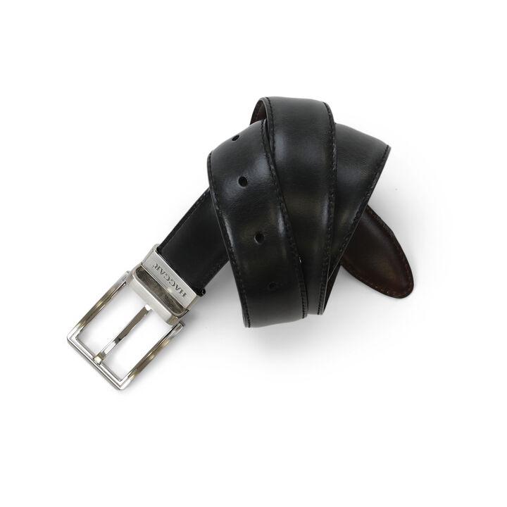 Dress Leather Reversible Belt, Black