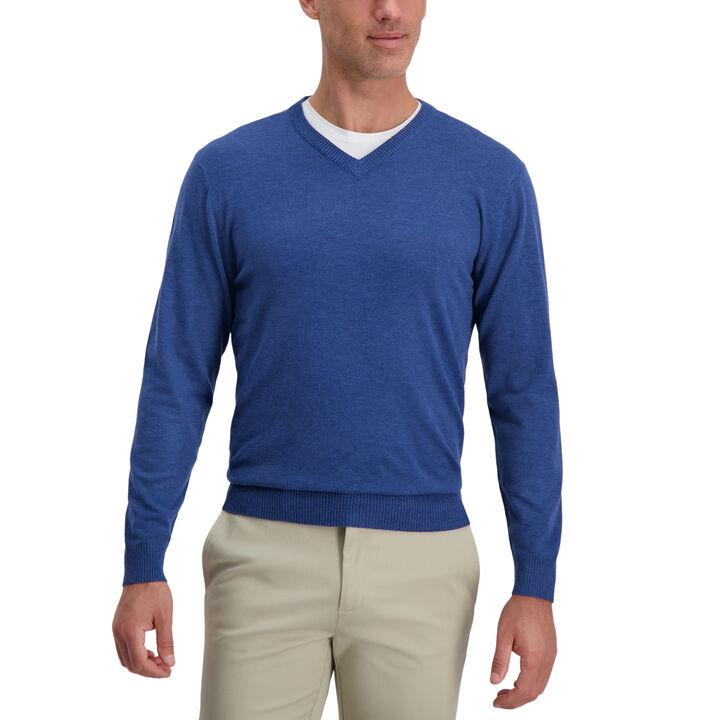V-Neck Basic Sweater, Cobalt