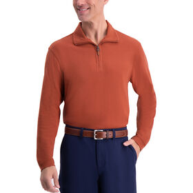 1/4 Zip Ribbed Sweater, Rust
