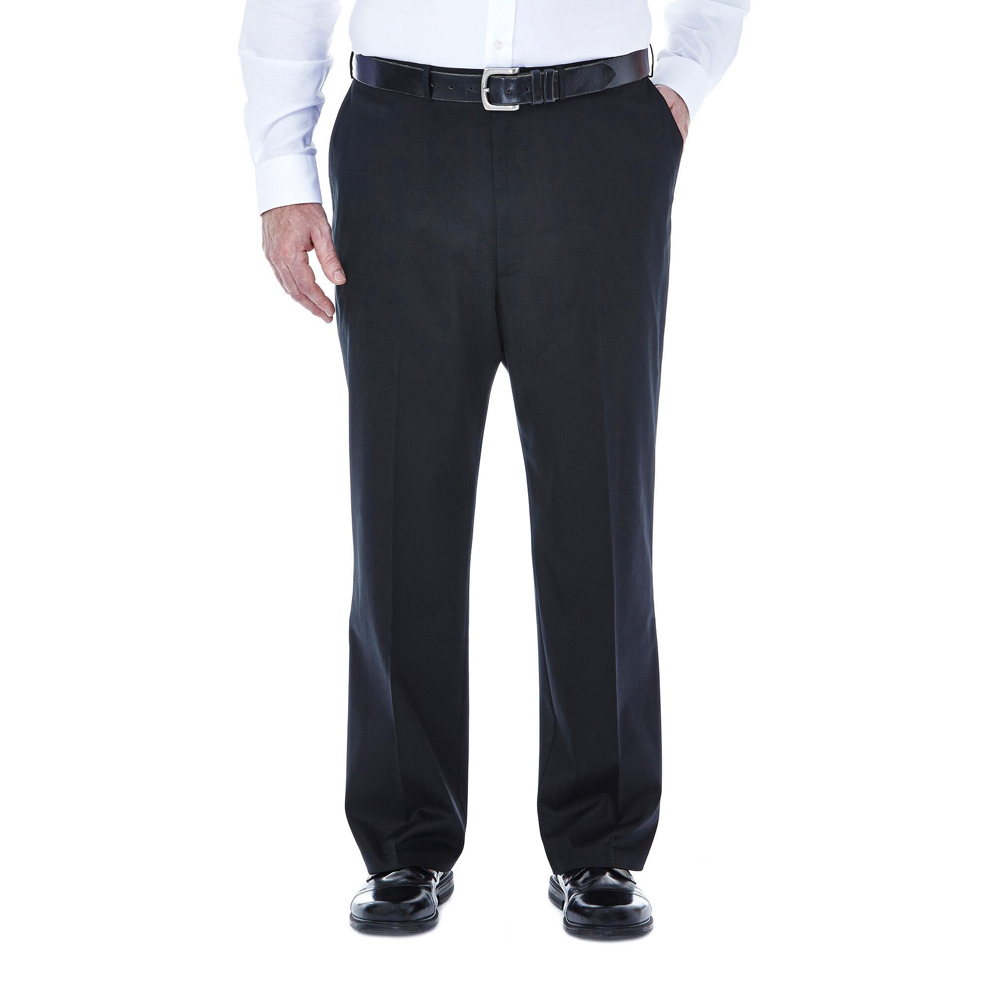 HAGGAR Mens B/&T Premium No Iron Khaki Stretch Flat Front PANTS Exp Waistband NWT