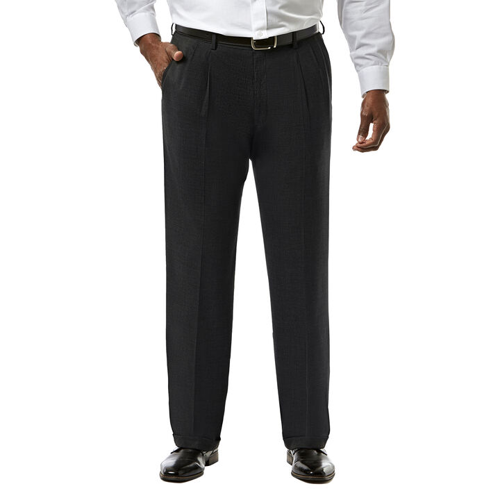 Big & Tall J.M. Haggar Premium Stretch Suit Pant - Pleated Front, Black open image in new window