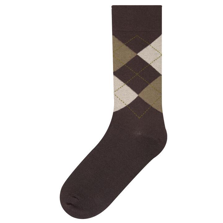 Argyle Dress Socks, Bark