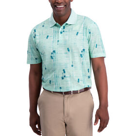 Palm Tree Crosshatch Button Down Shirt, Bright Green