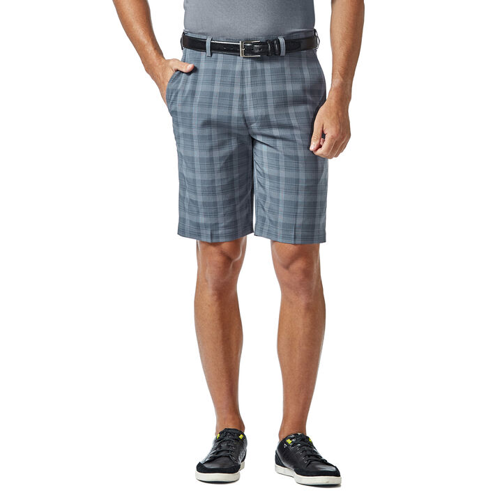 Cool 18® Pro Pinstripe Plaid Short, Lt Stonewash
