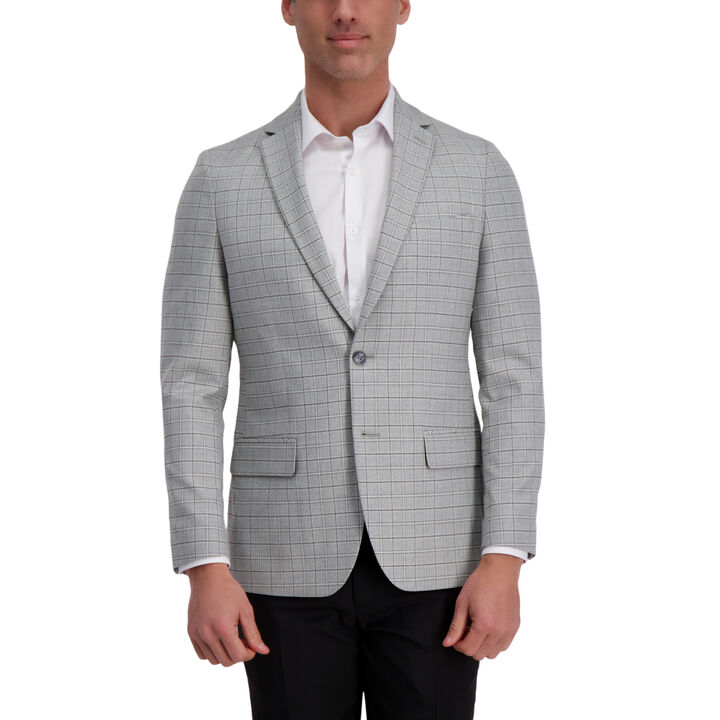J.M. Haggar Premium Heather Grid Sport Coat, Light Grey open image in new window