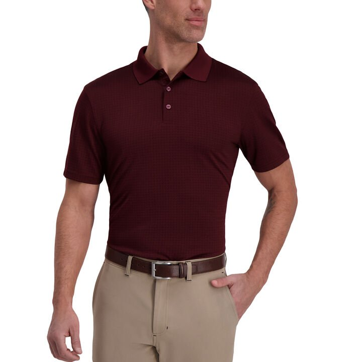 The Active Series™ Diamond Textured Polo, Wine Gem