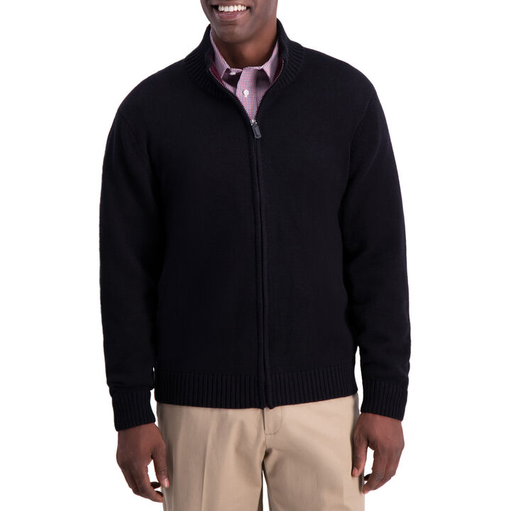 Solid Full Zip Sweater, Black