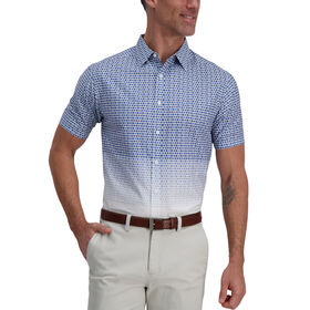 Blue Ombre Medallions Cotton Shirt, Marine Blue